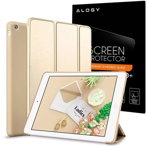 Etui Alogy Smart Case Apple iPad Air silikon Złote + Szkło