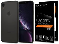 Etui Spigen Air Skin Apple iPhone Xr Black +Szkło Alogy