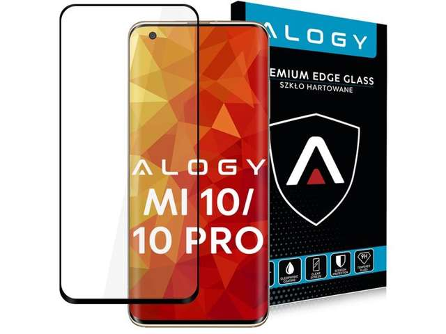 Alogy Szkło na telefon case friendly Full Glue do Xiaomi Mi 10/ 10 Pro Czarne