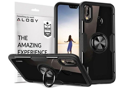 Etui Alogy Ring Holder Clear Armor do Huawei P20 Lite czarne + Szkło Alogy