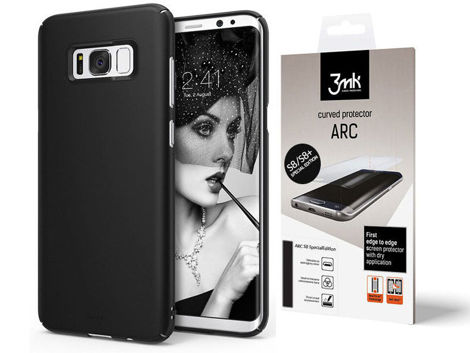 Etui Ringke Slim Samsung Galaxy S8 SF Black + Folia Arc 3mk