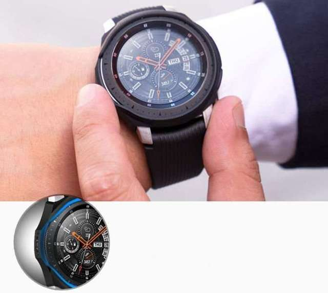 Etui Spigen Liquid Air do Samsung Galaxy Watch 46mm /Gear S3 Black + Szkło spg