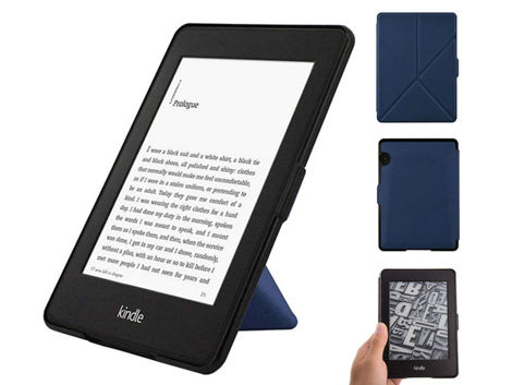 Etui futerał origami do Amazon Kindle Voyage na magens granatowe