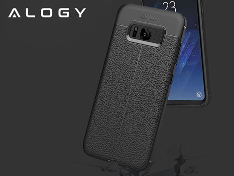 Etui pancerne Alogy leather case Galaxy S8+ Plus czarne +Szkło