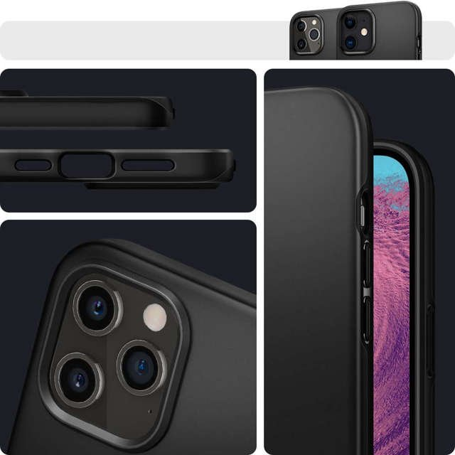 Spigen Etui na telefon Thin Fit do Apple iPhone 12/ 12 Pro 6.1 Black