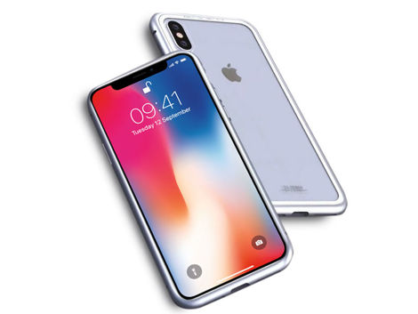 Szklane etui Luphie magnetic case do iPhone X Xs Srebrne