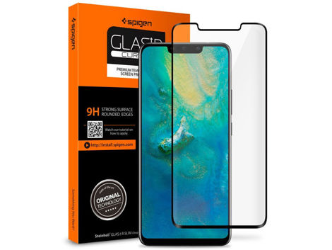 Szkło Spigen Glas.tR Curved Huawei Mate 20 Pro Case Friendly Black