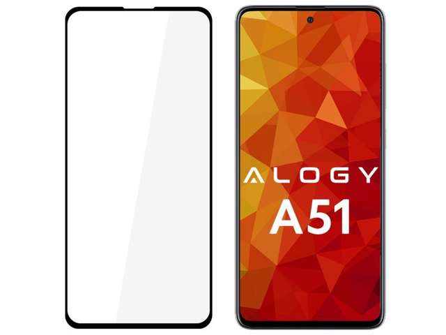 Szkło na telefon Alogy Full Glue case friendly do Samsung Galaxy A51 Czarne
